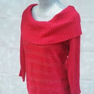 BCX Sparkly Red Cowl Neck Sweater ~ New w TAGS!!